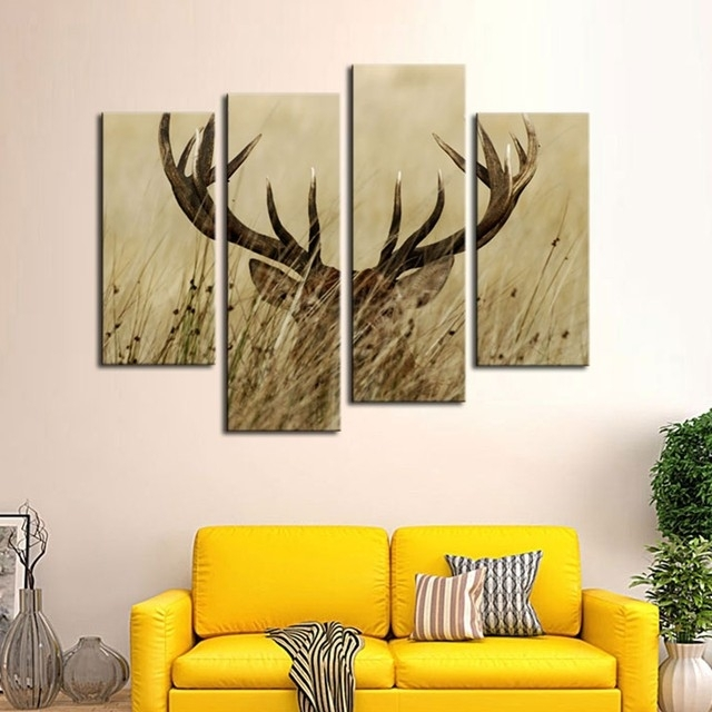 Online Shop Modular Wall Art Canvas Pictures Home Decor Frames 4 Pertaining To Deer Canvas Wall Art (View 9 of 15)