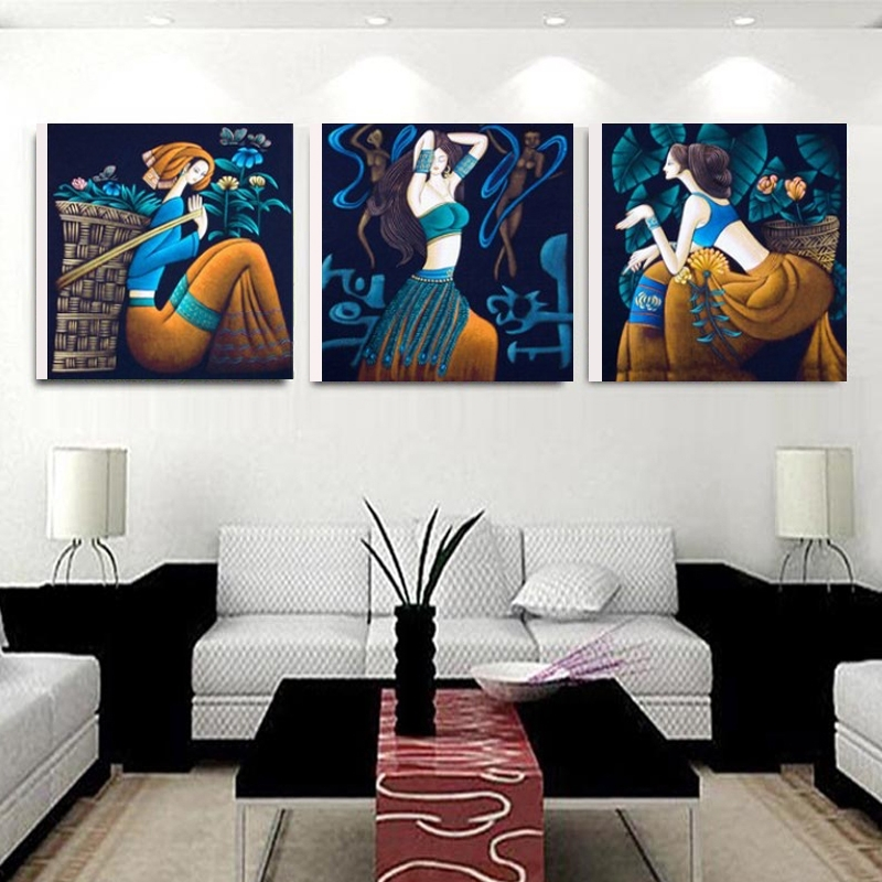 Online Shop No Frame 3 Pcs Modern Abstract Ethnic Girl Modular Intended For Ethnic Canvas Wall Art (View 3 of 15)