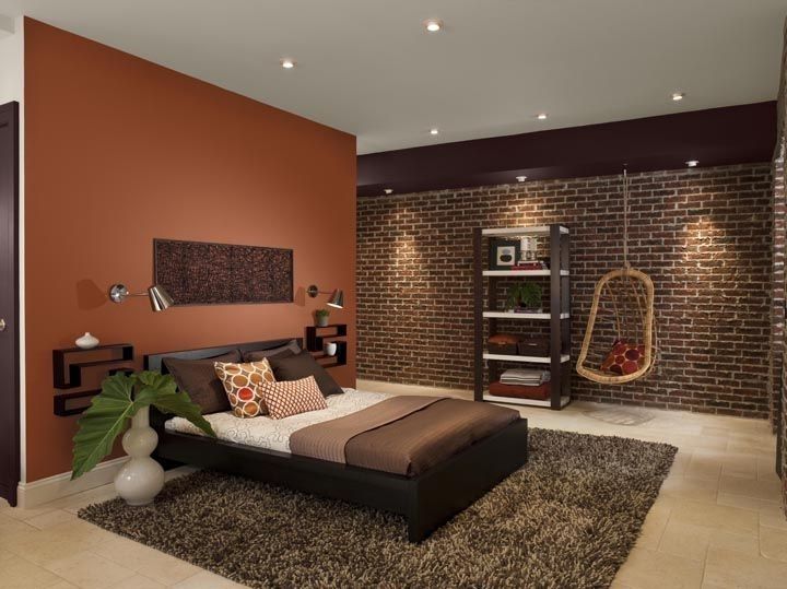 Orange Accent Wall Looks Great With Brown Accents & The Brick For Brown Wall Accents (Image 12 of 15)