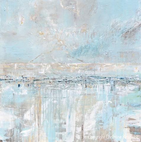 Original Art Abstract Painting Textured Canvas Coastal Landscape Inside Abstract Horizon Wall Art (View 13 of 15)