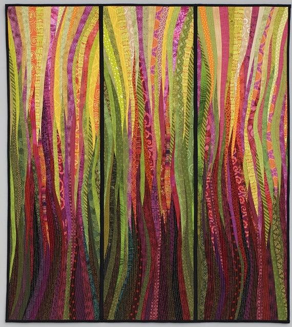 Original Art Quilt. Modern Textile Art. Rhubarb Fire (View 7 of 15)