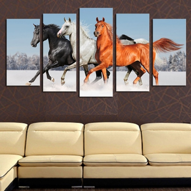 Original Oil Ink Canvas Print Jumping Horse Painting On Canvas In Jump Canvas Wall Art (Image 15 of 15)