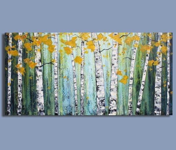 Original Painting Abstract Painting Landscape Painting Birch Tree For Birch Trees Canvas Wall Art (View 8 of 15)