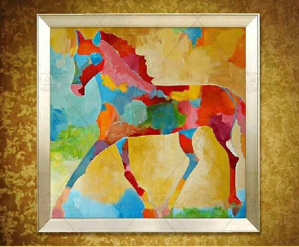 Original Square Abstract Horse Painting Colorful Horse Oil Wall Intended For Abstract Horse Wall Art (View 11 of 15)