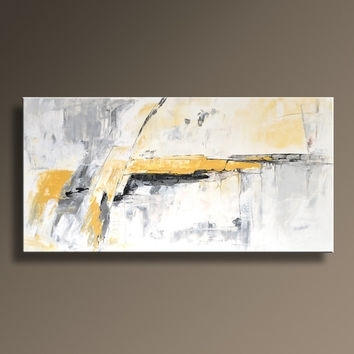 Original Textured Abstract Painting On From Itarts On Etsy Pertaining To Yellow And Grey Abstract Wall Art (View 3 of 15)