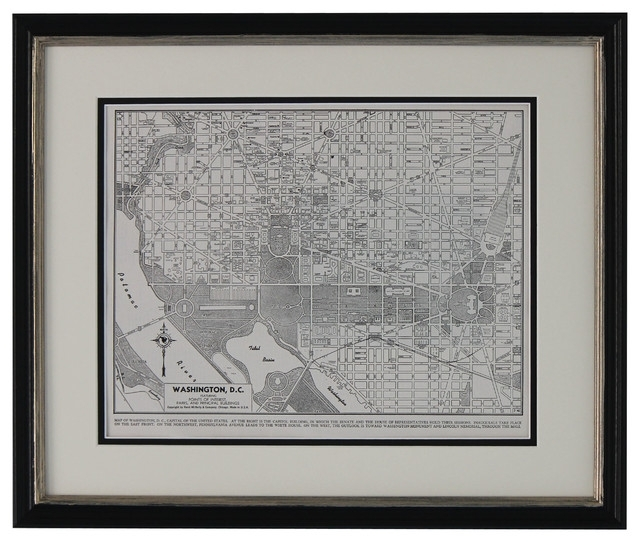 Original Vintage Washington Dc Framed Map, 1949 – Traditional Within Washington Dc Framed Art Prints (View 3 of 15)