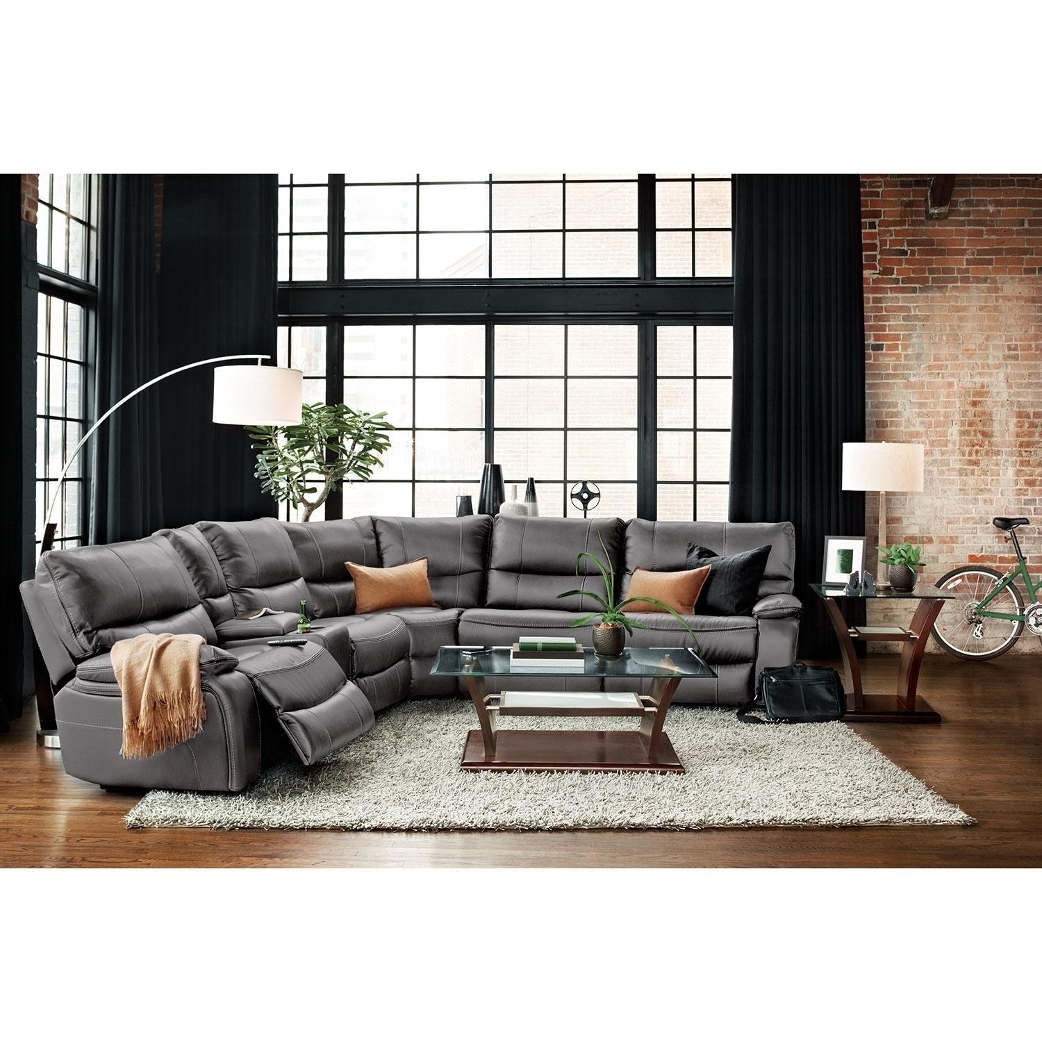 Orlando 6 Piece Power Reclining Sectional With 1 Stationary Chair With Orlando Sectional Sofas (Image 5 of 10)