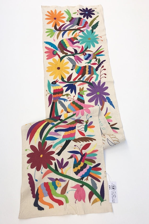 Otomi Fabric, Wall Art, Mexican Tenango, Otomi Embroidery,hand Pertaining To Mexican Fabric Wall Art (View 12 of 15)