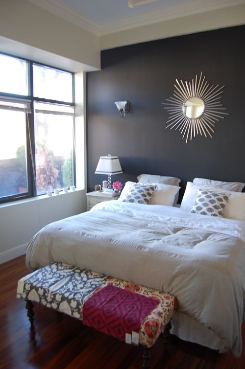 Our Bedroom: King Sized Bed, White Bedding, Gray Walls, Dark Wall Regarding Wall Accents Behind Bed (Image 10 of 15)