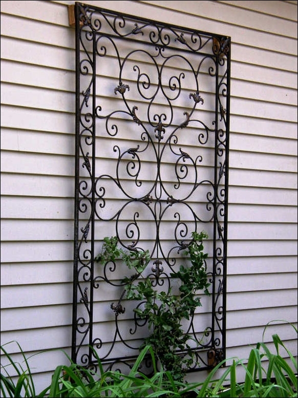 Outdoor Wrought Iron Wall Decor For Garden | Landscaping Throughout Garden Wall Accents (Image 14 of 15)