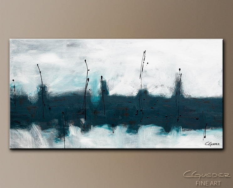 Oversized Abstract Wall Art – Blue Harbour – Huge Large Original In Gray Abstract Wall Art (Image 13 of 17)