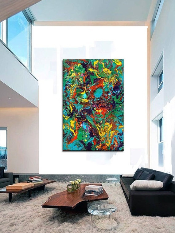 Oversized Canvas Wall Art Contemporary Abstract Prints Epoxy With Regard To Abstract Oversized Canvas Wall Art (View 11 of 15)