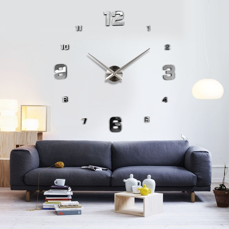 Oversized Decorative Clock Giant Wall Big In Decor 5 – Lunalil Inside Clock Wall Accents (Image 14 of 15)