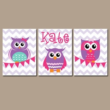 Owl Wall Art Nursery Canvas Artwork Girl From Trm Design | Wall In Personalized Nursery Canvas Wall Art (View 14 of 15)