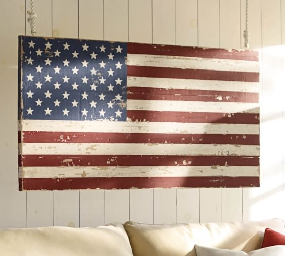 Painted American Flag | Pottery Barn Within American Flag Fabric Wall Art (View 8 of 15)