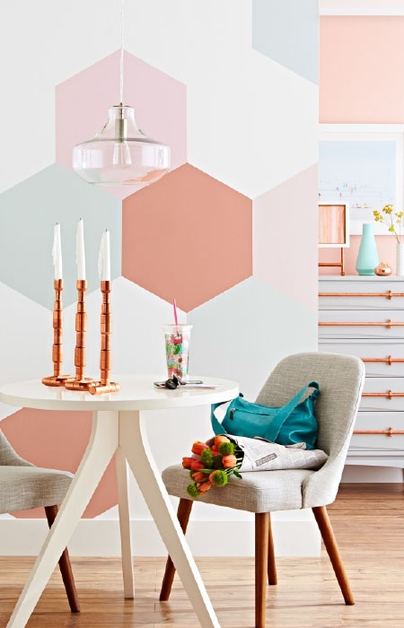 Painted Hexagonal Wall Decorations Within Wall Accents Without Paint (View 3 of 15)