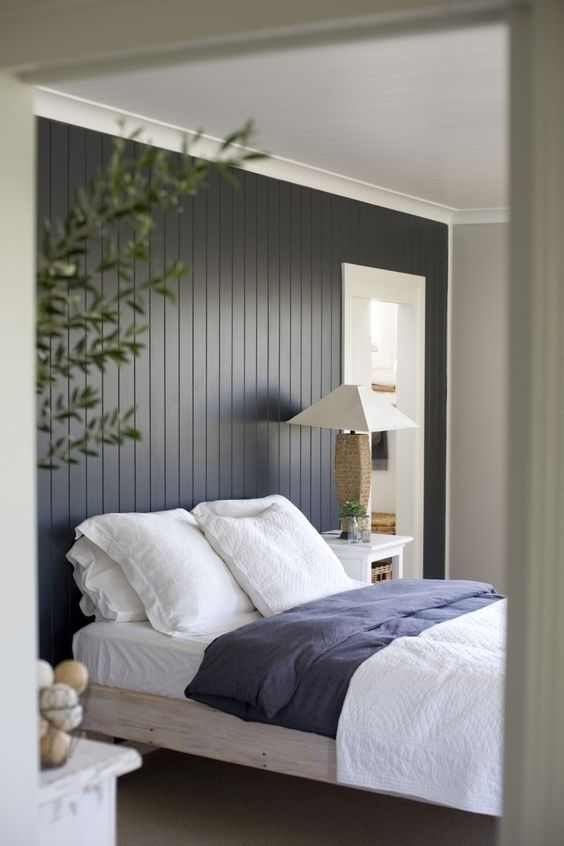 Painted Wood Accent Wall Behind Bed – This Is Beautiful!! This Pertaining To Wall Accents Behind Bed (Image 11 of 15)