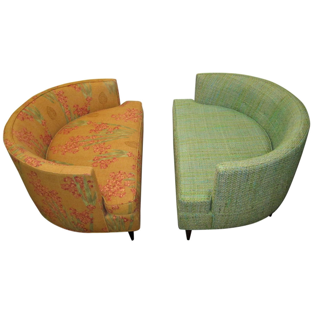 Pair Of Unusual Wide Semi Circle Milo Baughman Style Chairs Ottoman Intended For Chairs With Ottoman (View 8 of 10)