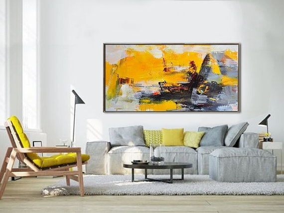 Palette Knife Painting, Original Horizontal Wall Art, Abstract Art With Regard To Horizontal Abstract Wall Art (View 3 of 15)
