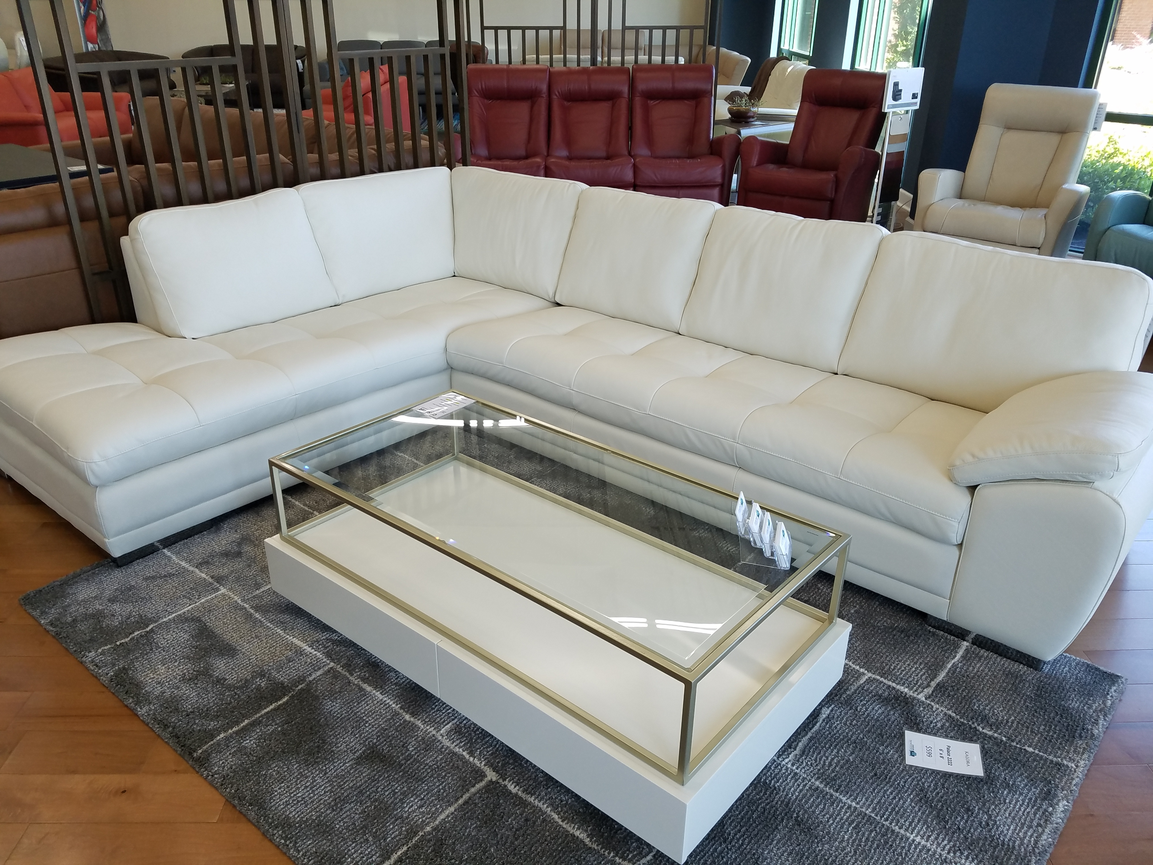 Palliser Miami Sectional Lhf Chaise Bumper And Rhf Sofa Leather Regarding Miami Sectional Sofas (Image 9 of 10)