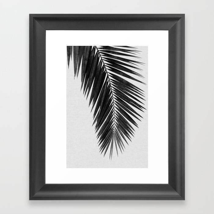 Palm Leaf Black & White I Framed Art Printpaperpixelprints Throughout Black And White Framed Art Prints (Image 12 of 15)