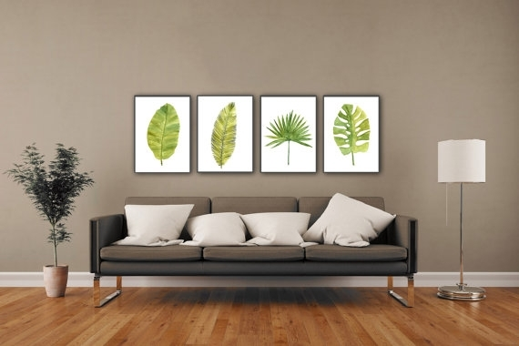 Palm Leaf Watercolor Painting Abstract Leaves Minimalist Fine For Abstract Leaves Wall Art (View 5 of 15)