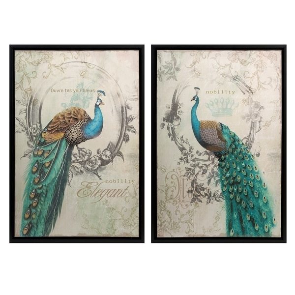 Panache Peacock Wall Art (Set Of 2) – Free Shipping Today Within Birds Canvas Wall Art (Image 12 of 15)
