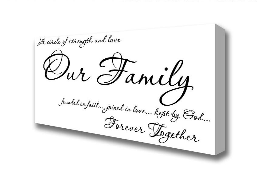 Panoramic Our Family Together Forever Canvas Art Prints Intended For Canvas Wall Art Family Quotes (Image 10 of 15)