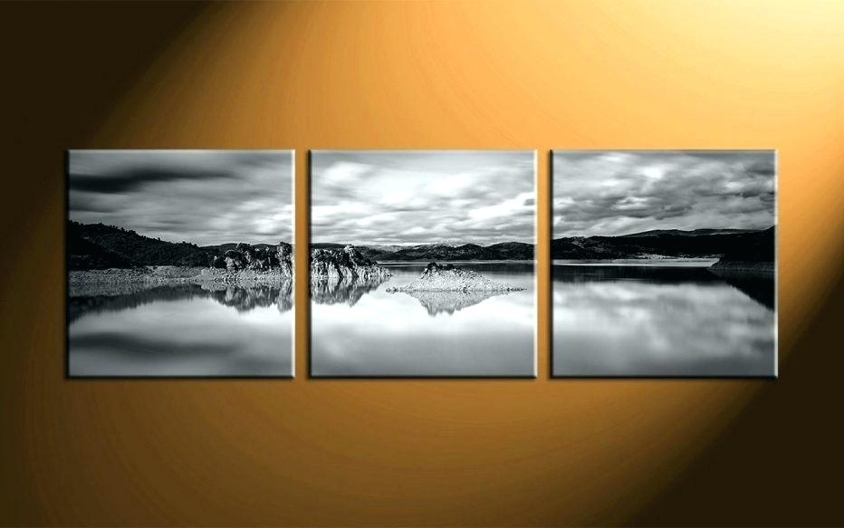 Panoramic Wall Decor Home Decor 3 Piece Canvas Art Prints Within Landscape Canvas Wall Art (Image 12 of 15)