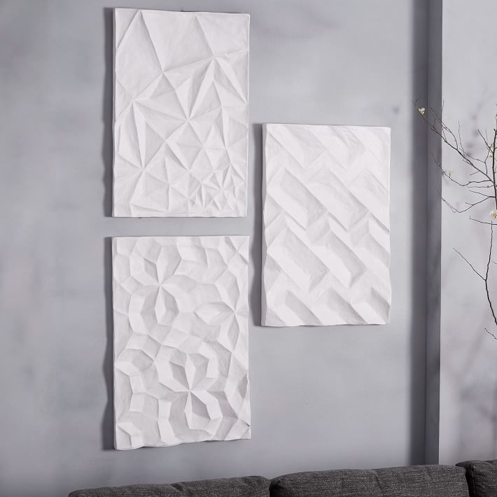 Papier Mache Wall Art – Geo Panel | West Elm Regarding Grey And White Wall Accents (View 8 of 15)