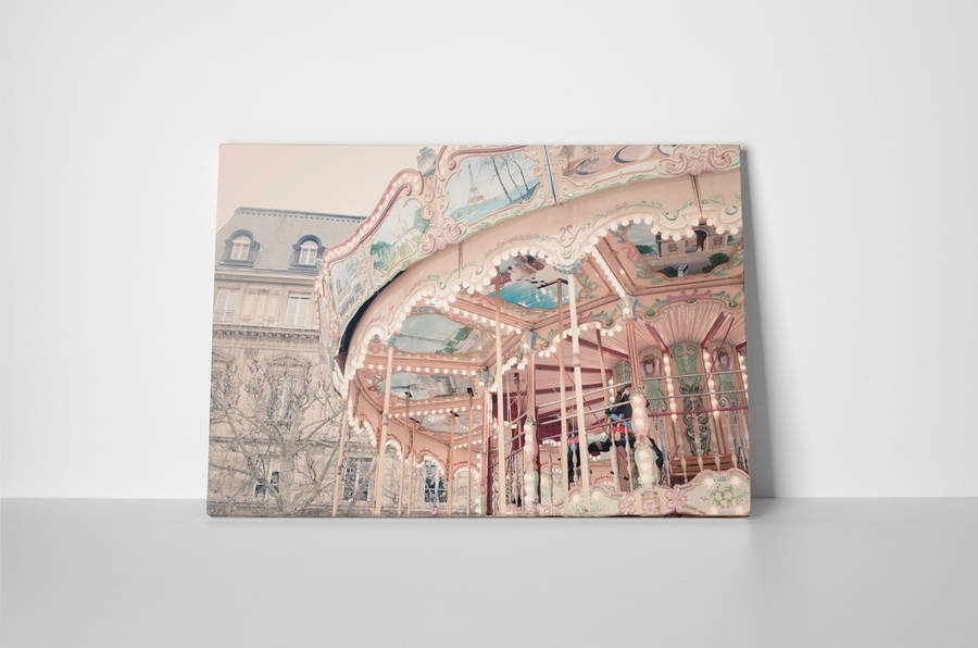 Paris Carousel Canvas Wall Artruby And B | Notonthehighstreet With Regard To Canvas Wall Art Of Paris (Image 6 of 15)