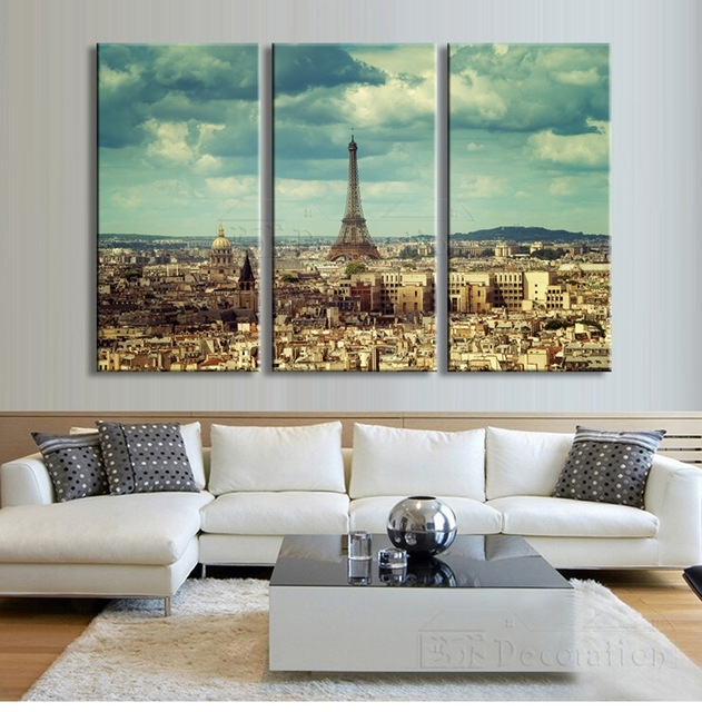 Paris Decor 3 Multi Panel Canvas Wall Art Painting Posters And In Canvas Wall Art Of Paris (Image 7 of 15)