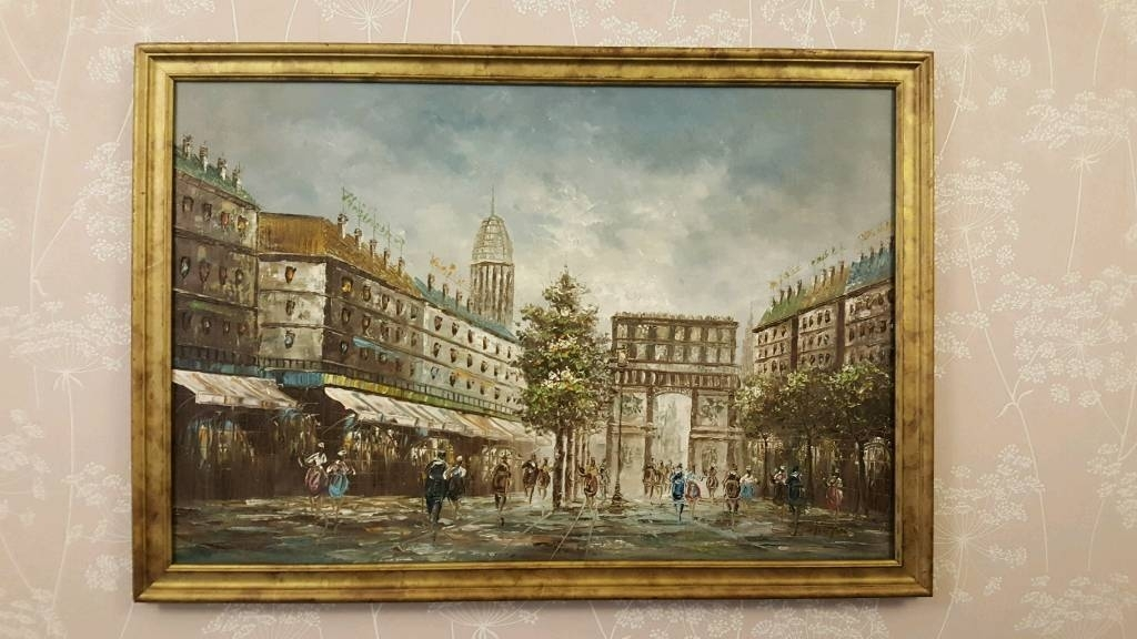 Paris Scene. John Lewis. Oil On Canvas Painting. 100X70Cm (Image 9 of 15)