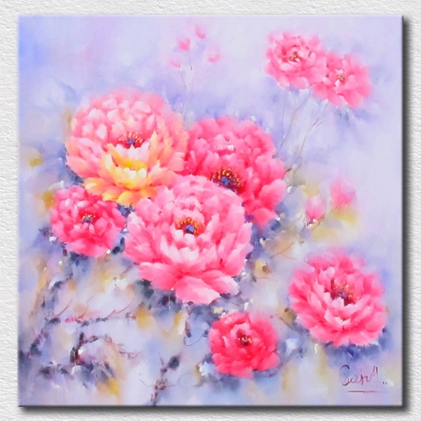 Pastel Colorful Flowers Oil Painting High Quality Reproduction Oil Inside Pastel Abstract Wall Art (Image 12 of 15)
