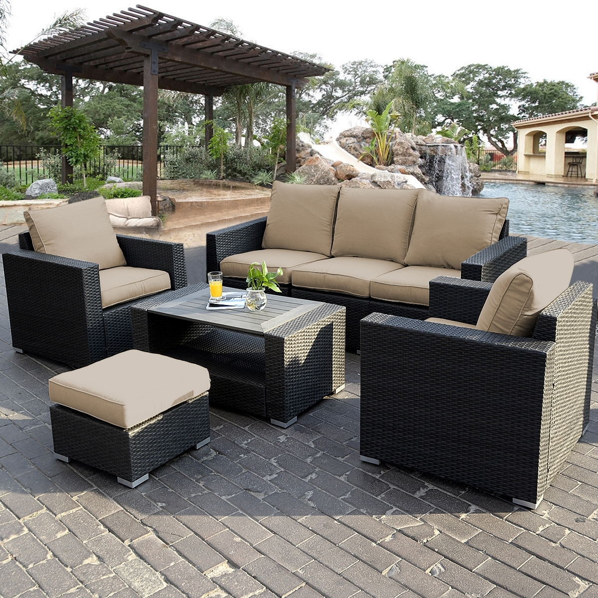 Patio & Garden : Eucalyptus Sectional Patio Furniture Patio For Patio Sofas (Image 9 of 10)