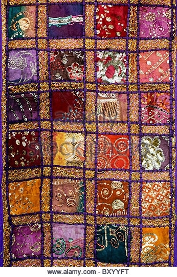 Pattern Fabric Wall Hanging Stock Photos & Pattern Fabric Wall Regarding Indian Fabric Wall Art (Image 14 of 15)