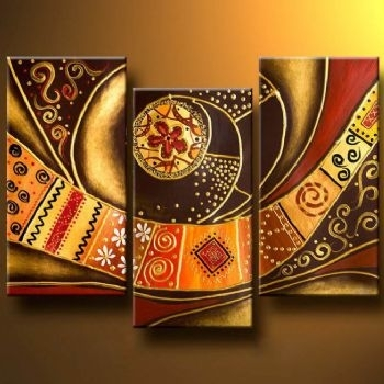 Patterned Belt Modern Abstract Oil Painting Wall Art With Throughout Abstract Art Wall Hangings (Image 11 of 15)