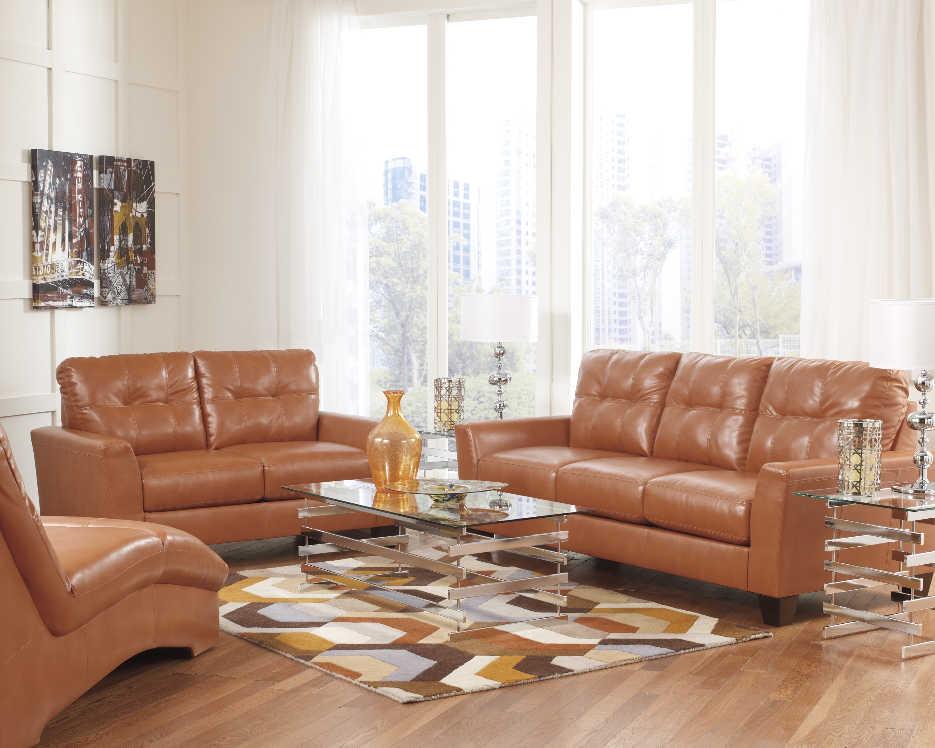 Paulie Durablend Leather Orange Sofa Collection | Ashley Furniture Regarding Ashley Tufted Sofas (Image 6 of 10)