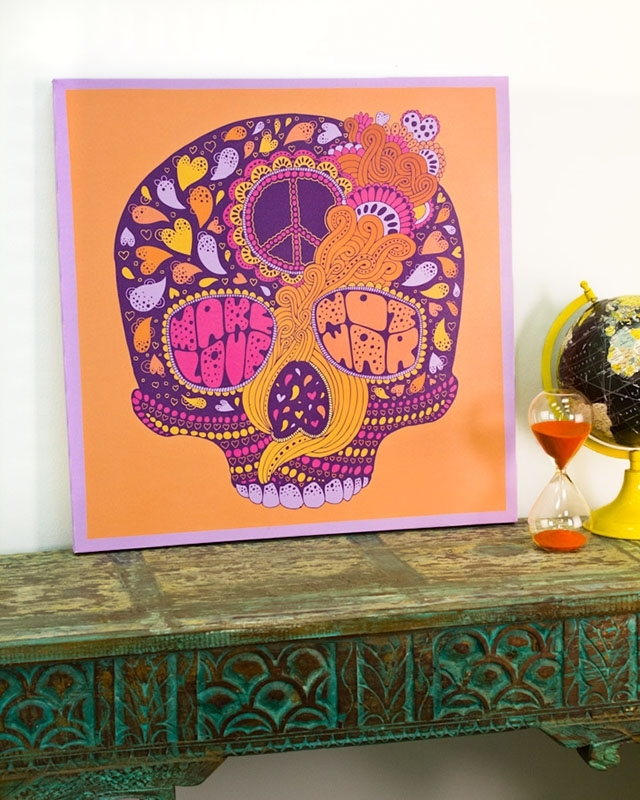 Peace Hippie Skull Canvas Art From Earthbound Trading Co (View 5 of 15)