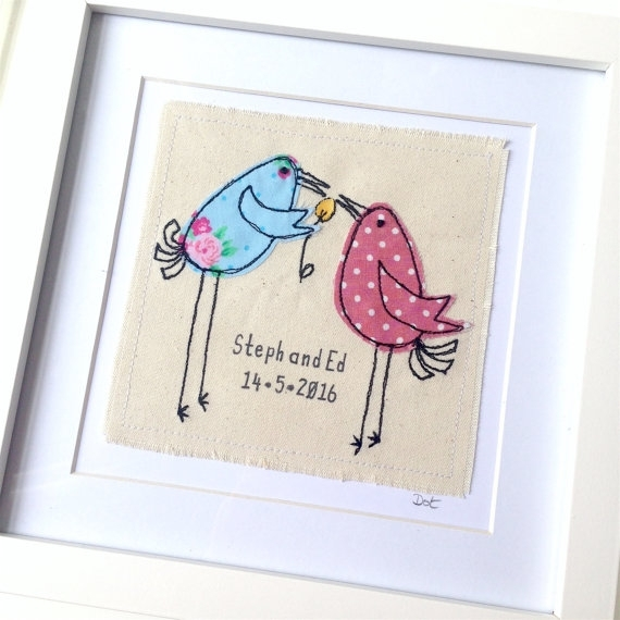 Personalised Wedding, Engagement, Anniversary Gift, Dotty Birds For Fabric Applique Wall Art (Image 10 of 15)