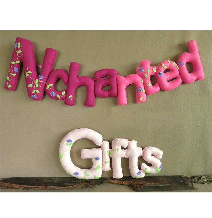 Personalized Name Banner Custom Felt Fabric Bunting Baby Wall Art Intended For Fabric Name Wall Art (View 14 of 15)