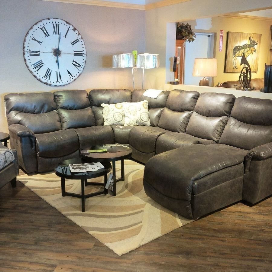 Picture Of Stetson Ridge Brown 6 Pc Power Reclining Sectional From Throughout Durham Region Sectional Sofas (Image 5 of 10)