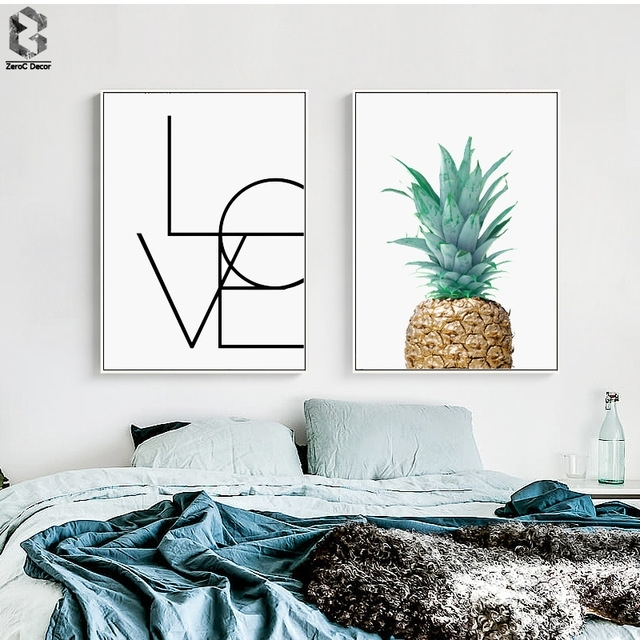Pineapple Love Quotes Minimalist Scandinavian Poster Wall Art Within Modern Fabric Wall Art (View 9 of 15)
