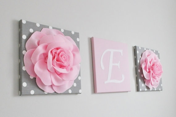 Pink And Gray Nursery Decor Baby Girl Nursery Custom Wall Letters Pertaining To Letters Canvas Wall Art (View 9 of 15)