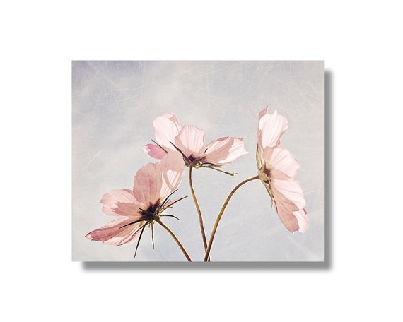 Pink Cosmos Flower Canvas Wall Art Pale Blue Pale Pink Regarding Pink Canvas Wall Art (Image 7 of 15)