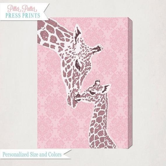 Pink Giraffe Nursery Wall Art Canvas // Girl's Nursery Art Intended For Giraffe Canvas Wall Art (View 4 of 15)