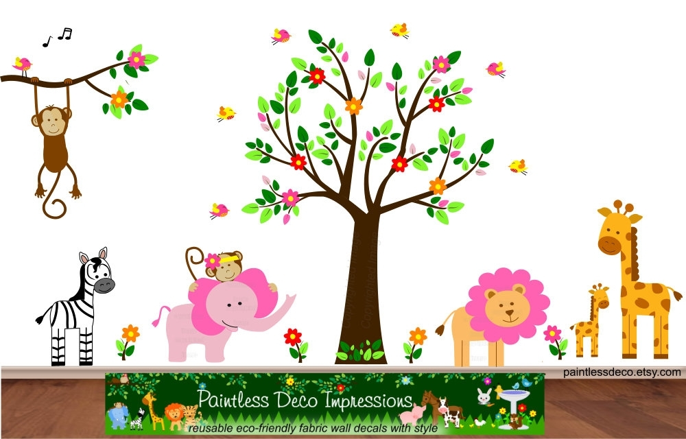 Pink Lion And Jungle Animals Friends Wall Decal Sticker – S3G Pink Regarding Fabric Wall Art Stickers (Image 14 of 15)