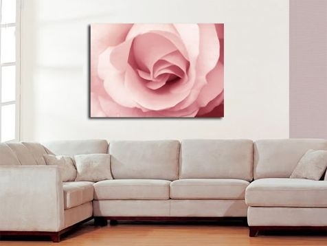 Pink Rose Canvas Wall Art Print 30X20 A1 76X52Cm Inside Roses Canvas Wall Art (Image 7 of 15)