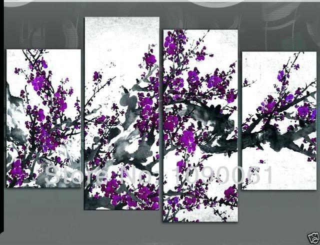 Plum Wall Art – Boyintransit Within Purple Flowers Canvas Wall Art (Image 9 of 15)