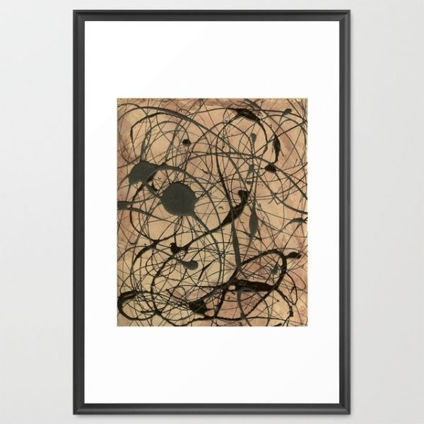 Pollock Inspired Abstract Black On Beige Framed Art Print With Regard To Framed Fine Art Prints (View 5 of 15)